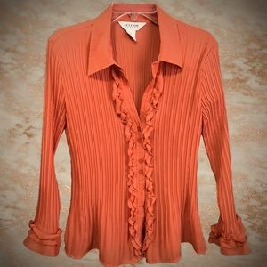 2for$30 ALLISON TAYLOR Accordion Pleated Ruffled Blouse